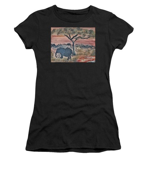 African Landscape With Elephant And Banya Tree At Watering Hole With Mountain And Sunset Grasses Shr Women's T-Shirt (Athletic Fit)