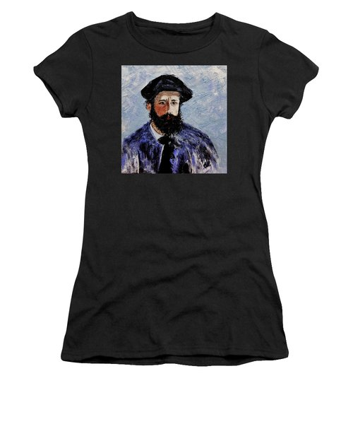 Women's T-Shirt (Junior Cut) featuring the painting After Monet-self Portrait With A Beret  by Cristina Mihailescu