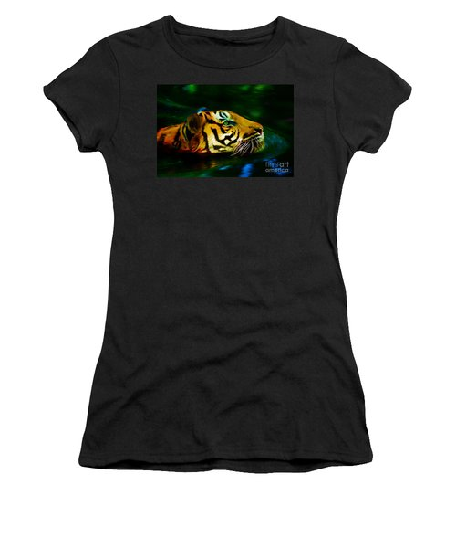 Afternoon Swim - Tiger Women's T-Shirt (Athletic Fit)