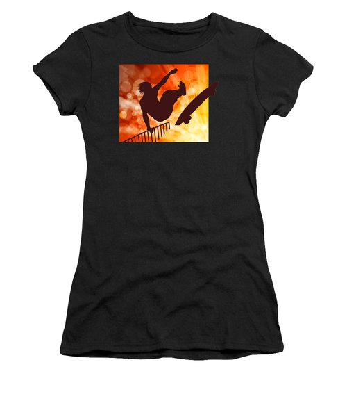 Airborne Skateboarder Silo Red Orange And Yellow Bokkeh Women's T-Shirt