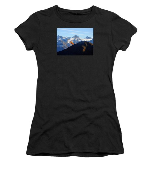 Airplane In Front Of The Alps Women's T-Shirt (Junior Cut) by Ernst Dittmar