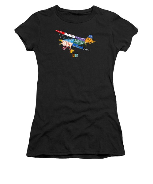 Airplane Vintage Biplane Silhouette Shape Recycled License Plate Art On Blue Barn Wood Women's T-Shirt (Athletic Fit)