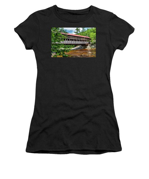 Women's T-Shirt (Athletic Fit) featuring the photograph Albany Covered Bridge  by Betty Pauwels