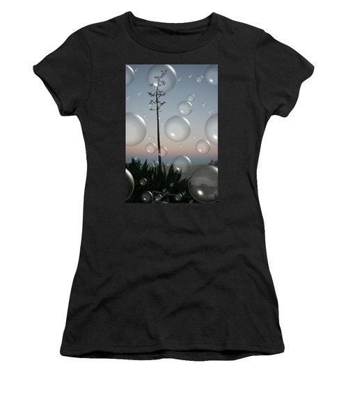 Women's T-Shirt (Junior Cut) featuring the digital art Alca Bubbles by Holly Ethan