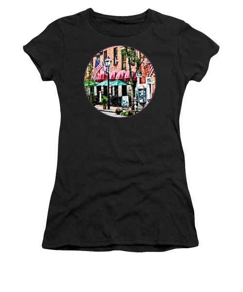 Alexandria Street With Cafe Women's T-Shirt (Junior Cut) by Susan Savad