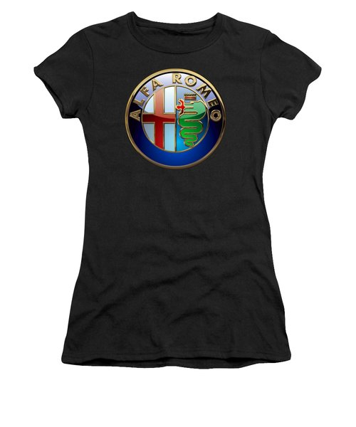 Alfa Romeo  - 3d Badge On Black Women's T-Shirt (Junior Cut) by Serge Averbukh