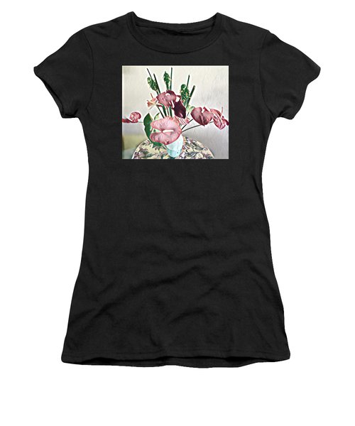 Aloha Bouquet Of The Day - Anthuriums And Green Ginger In Pale Women's T-Shirt