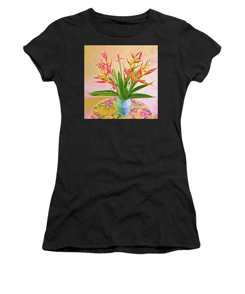 Aloha Bouquet Of The Day Halyconia And Birds In Pink Women's T-Shirt