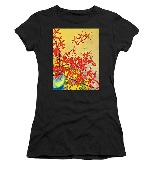 Aloha Bouquet Of The Day -- Red Orchids In Blue Vse Women's T-Shirt