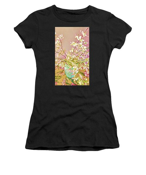 Aloha Bouquet Of The Day - White Orchids In Pink Women's T-Shirt