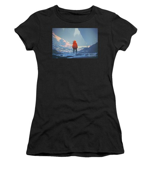 Women's T-Shirt featuring the painting Alone In Winter by Tithi Luadthong