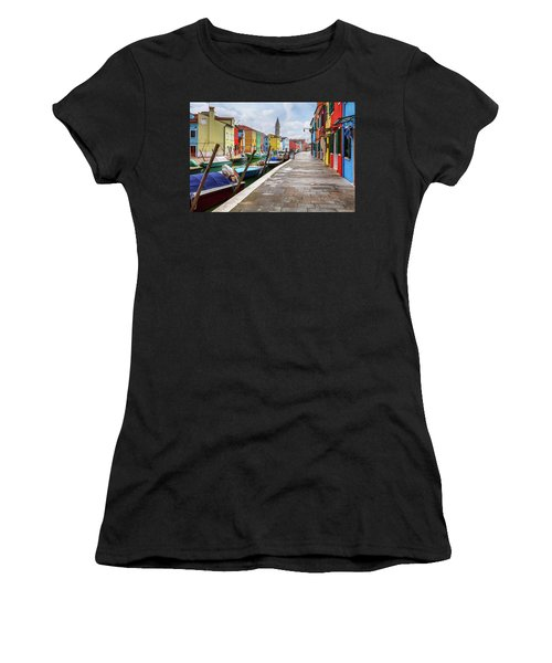 Along The Canal In Burano Island Women's T-Shirt