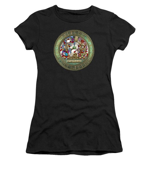 Altar 5 From Tikal - Mayan Nobles Performing A Ritual - On Black And Red Leather  Women's T-Shirt