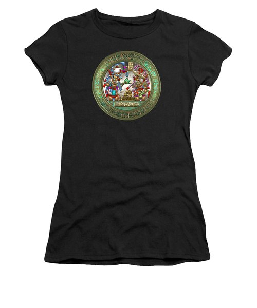 Altar 5 From Tikal - Mayan Nobles Performing Reburial Ritual - On Black And Red Leather Women's T-Shirt