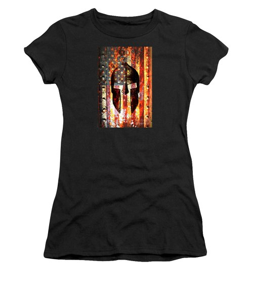 American Flag And Spartan Helmet On Rusted Metal Door - Molon Labe Women's T-Shirt