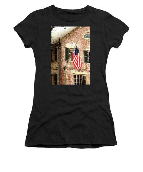 American Flag In Colonial Williamsburg Women's T-Shirt