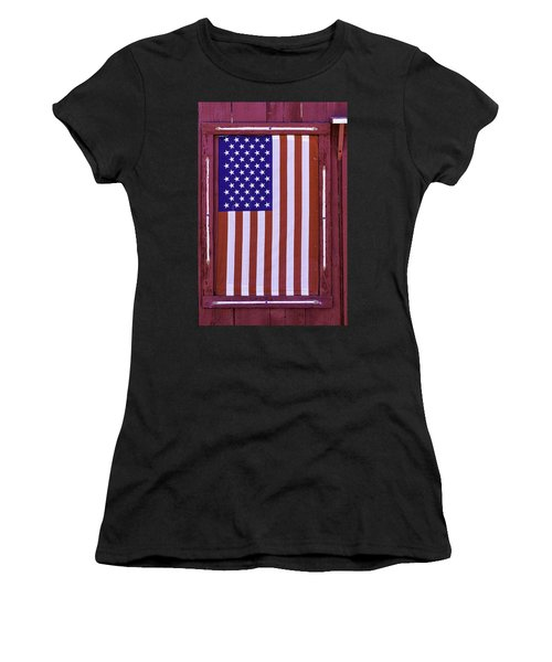 American Flag In Red Window Women's T-Shirt