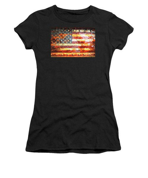 American Flag On Rusted Riveted Metal Door Women's T-Shirt