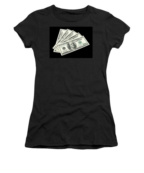 American Money On Black Background Women's T-Shirt (Athletic Fit)