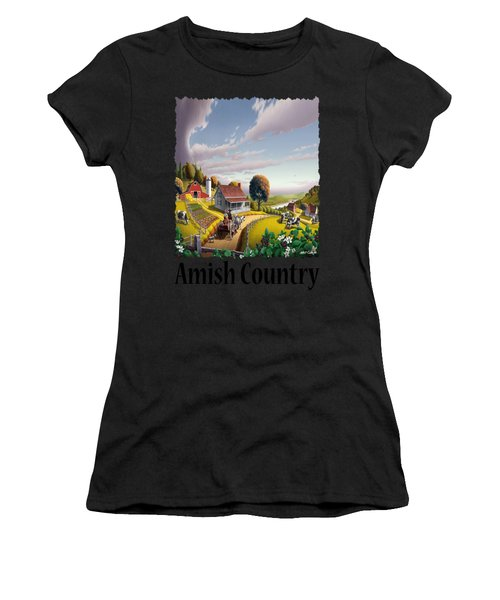 Amish Country - Appalachian Blackberry Patch Country Farm Landscape 2 Women's T-Shirt