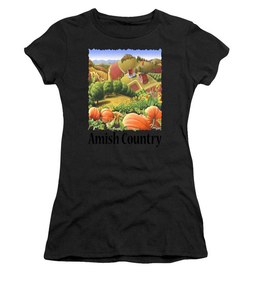 Amish Country - Pumpkin Patch Country Farm Landscape Women's T-Shirt (Athletic Fit)