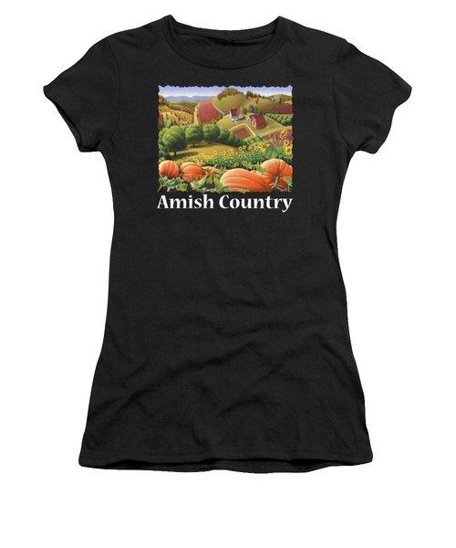 Amish Country T Shirt - Appalachian Pumpkin Patch Country Farm Landscape 2 Women's T-Shirt