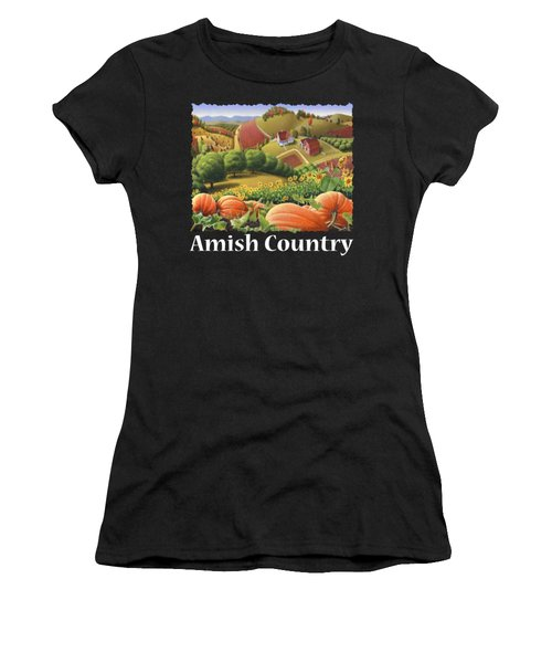 Amish Country T Shirt - Appalachian Pumpkin Patch Country Farm Landscape 2 Women's T-Shirt (Athletic Fit)