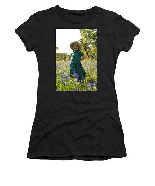 Amish Girl And Blue Bonnets I Women's T-Shirt (Junior Cut) by Carolina Liechtenstein