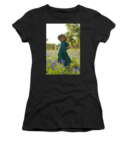 Amish Girl And Blue Bonnets I Women's T-Shirt (Athletic Fit)