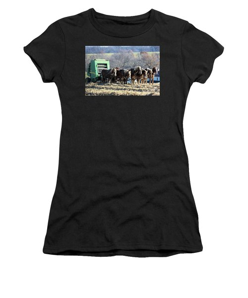 Amish Haymaker In Lancaster County, Pennsylvania Women's T-Shirt (Athletic Fit)