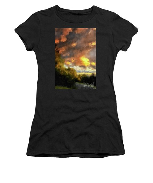 Women's T-Shirt (Athletic Fit) featuring the digital art An August Sunset by Lois Bryan