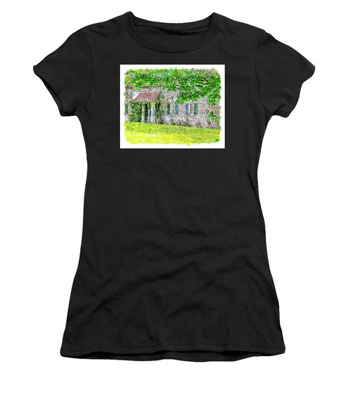 Women's T-Shirt (Athletic Fit) featuring the digital art An English Cottage by Anthony Murphy