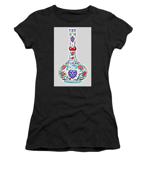 An Ottoman Iznik Style Floral Design Glowing Pottery Polychrome, By Adam Asar, No 5a Women's T-Shirt