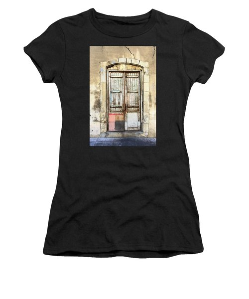 Ancient Wooden Door In Old Town. Limassol. Cyprus Women's T-Shirt (Athletic Fit)