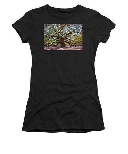 Angel Oak Tree 009 Women's T-Shirt (Junior Cut) by George Bostian
