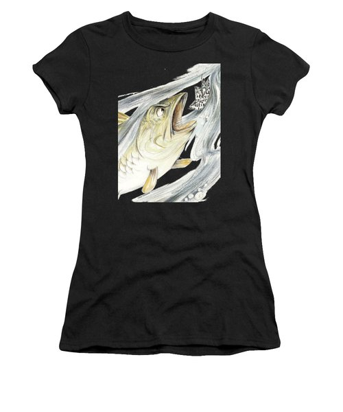 Angry Fish Ready To Swallow Tin Soldier's Paper Boat - Horizontal - Fairy Tale Illustration Fragment Women's T-Shirt