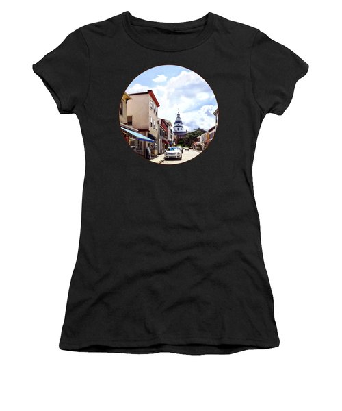 Annapolis Md - Shops On Maryland Avenue And Maryland State House Women's T-Shirt (Athletic Fit)