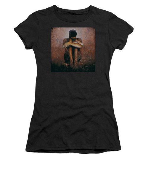 Women's T-Shirt (Junior Cut) featuring the painting Annunciation / Mary by Christopher Marion Thomas