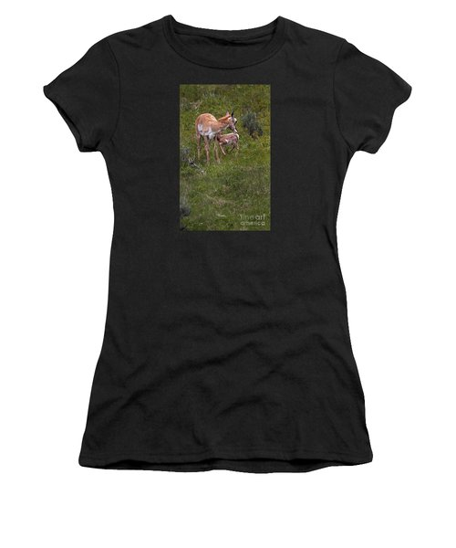 Antelope And Baby-signed-#3576 Women's T-Shirt (Athletic Fit)