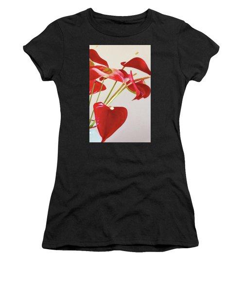 Anthurium Fragments In Red Women's T-Shirt