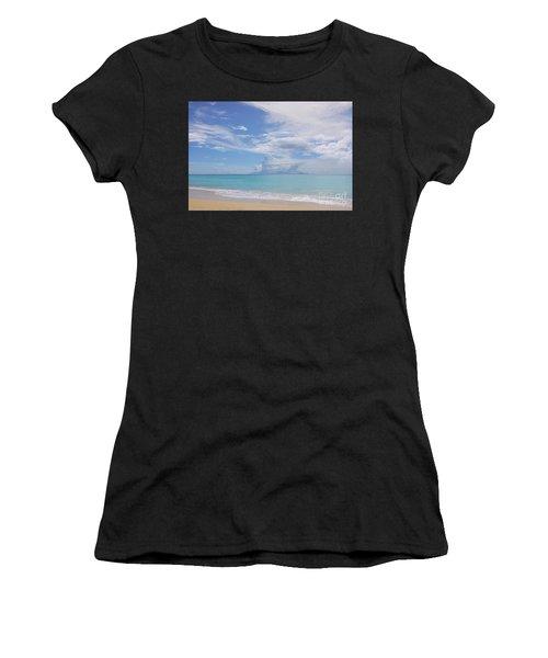 Antigua Beach View Of Montserrat Volcano Women's T-Shirt (Athletic Fit)