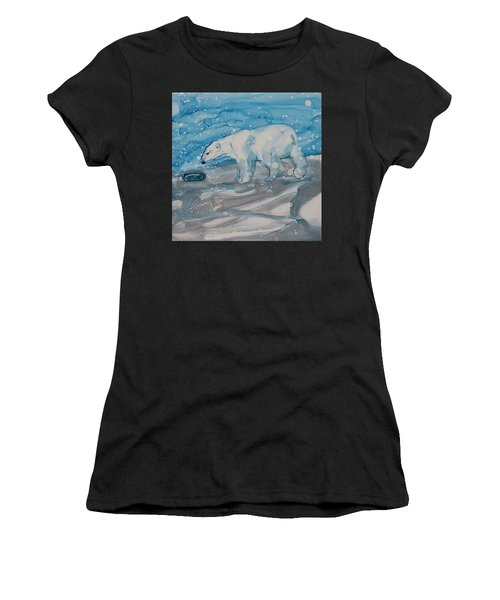 Women's T-Shirt featuring the painting Anybody Home? by Ruth Kamenev