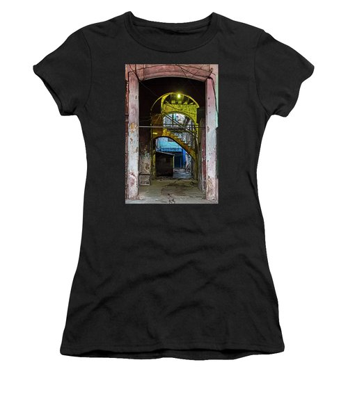 Women's T-Shirt (Athletic Fit) featuring the photograph Apartment Enrance Havana Cuba Near Calle C by Charles Harden
