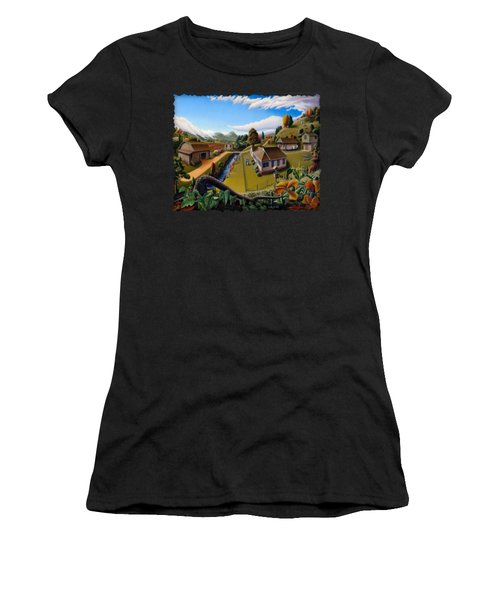 Appalachia Summer Farming Landscape - Appalachian Country Farm Life Scene - Rural Americana Women's T-Shirt