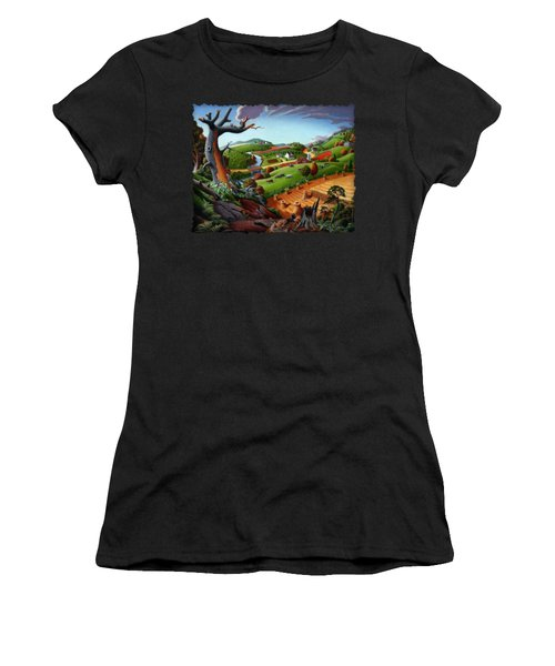 Appalachian Fall Thanksgiving Wheat Field Harvest Farm Landscape Painting - Rural Americana - Autumn Women's T-Shirt