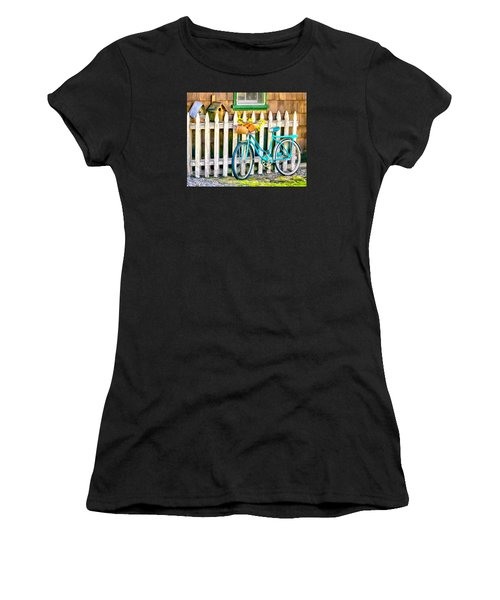 Aqua Antique Bicycle Along Fence Women's T-Shirt