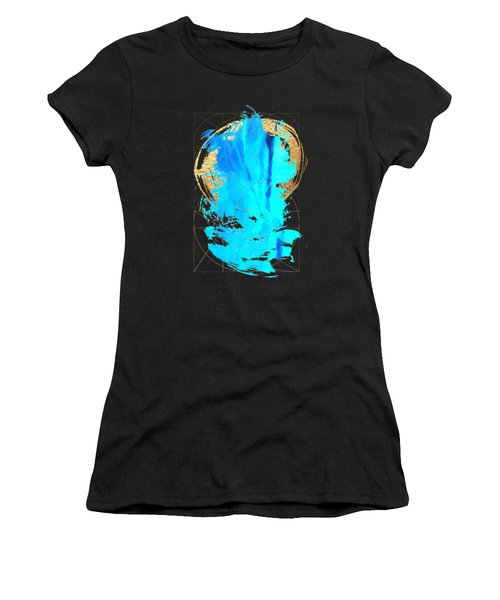 Women's T-Shirt (Junior Cut) featuring the digital art Aqua Gold No. 4 by Serge Averbukh