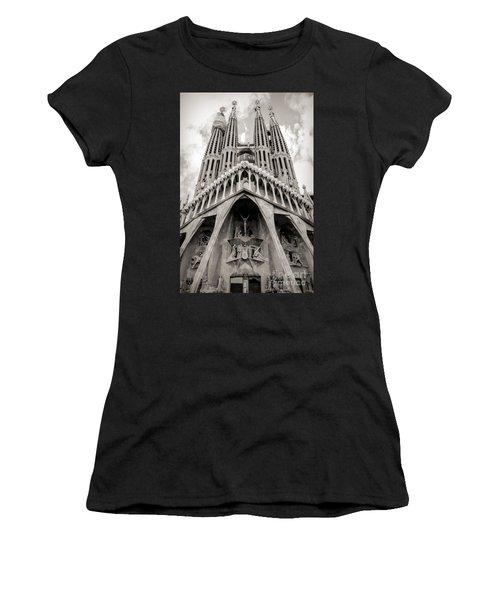 Architecture Antoni Gaudi La Sagrada Familia Barcelona Spain Sepia  Women's T-Shirt