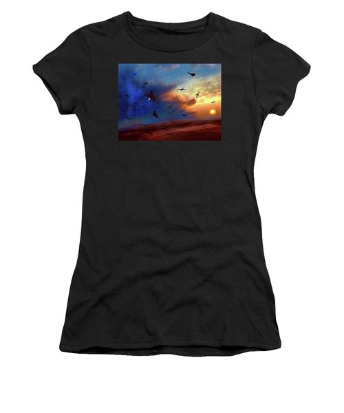 Women's T-Shirt (Junior Cut) featuring the painting Area 51 Groom Lake by Dave Luebbert