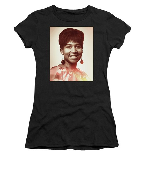 Women's T-Shirt (Athletic Fit) featuring the digital art Aretha Franklin I Say A Little Prayer by Anthony Murphy